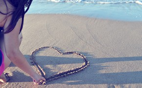 Picture sand, beach, mood, girl, heart