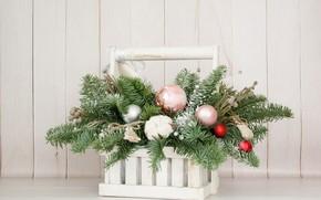 Picture balls, cotton, decoration, fir-tree branches, Christmas bouquet