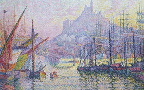 Picture sea, landscape, the city, ship, picture, Paul Signac, pointillism, Marseille. Notre-Dame-de-La-garde