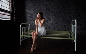 Picture reverie, pose, background, room, sweetheart, model, bed, grille, figure, slim, brunette, window, floor, light, bed, …