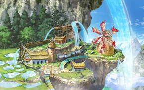 Picture anime, mountains, waterfall, village, valley, asian, mill, japanese, oriental, vegetation, weathervane, Monster Hunter Stories: Ride …