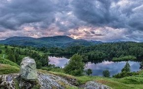 Picture forest, mountains, lake, stone, England, panorama, England, The lake district, Cumbria, Cumbria, Lake District National …