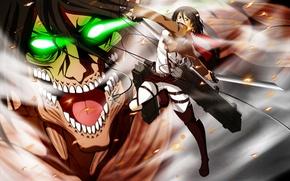 Picture anime, art, Titan, Mikasa, Shingeki no Kyojin, Eren, Attack of the titans, The invasion of …