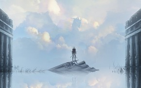 Picture the sky, clouds, dragon, home, anime, art, guy, asuteroid