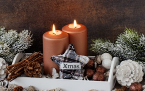 Picture candles, New Year, Christmas, balls, merry christmas, decoration, xmas, holiday celebration
