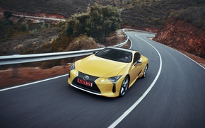 Picture car, Lexus, yellow, speed, Lexus LC 500