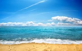 Picture sand, sea, beach, the sky, shore, beach, sea, seascape, sand, wave