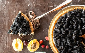 Wallpaper pie, filling, apricots, mulberry, cakes, fruit, berries