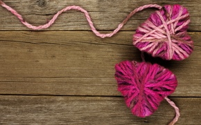 Picture heart, love, thread, wood, romantic, hearts, valentine`s day