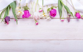 Picture flowers, bouquet, spring, colorful, tulips, buds, wood, pink, flowers, tulips, spring