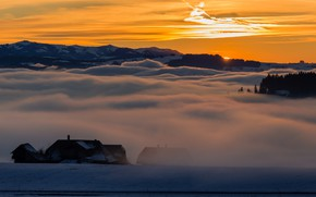 Picture sunset, fog, house