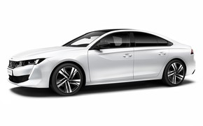 Picture machine, white background, white car, Peugeot 508 GT Line 2019