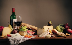 Picture wine, glass, cheese, grapes, pear, garnet, figs, dried apricots