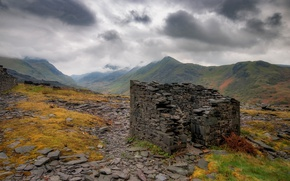 Picture clouds, mountains, ruins, Wales, quarry Dinorwic