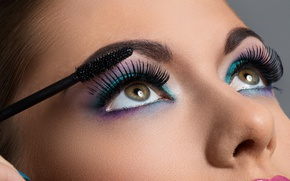 Picture face, eyelashes, Makeup