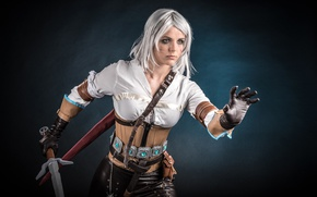 Wallpaper girl, sword, blood, game, The Witcher, woman, ken, wolf, blade, cosplay, book, blonde, pose, belt, ...