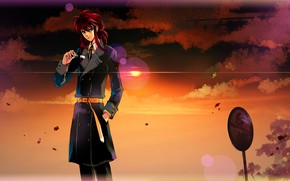 Picture sunset, guy, Kurama, Yu Yu No Where
