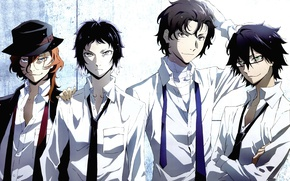 Picture anime, art, guys, mafia, Bungou Stray Dogs, Stray dogs literary geniuses