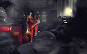 Wallpaper tires, wheel, garage, girl, sparks