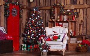 Picture decoration, room, balls, toys, tree, New Year, Christmas, gifts, Christmas, design, wood, Merry Christmas, Xmas, …