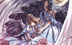 Picture girls, angel, anime, art, Card Captor Sakura, Sakura-collector cards