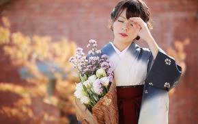 Wallpaper girl, flowers, Asian