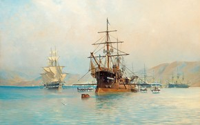 Picture hills, The sea and ships, Herman Gustaf AF Sillen, French frigate, off the coast of ...