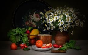 Picture chamomile, bread, pepper, still life, tomatoes, radishes