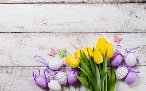 Picture eggs, easter, tulips, yellow, flower