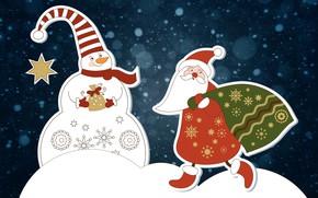 Picture Winter, Minimalism, Snow, Christmas, Background, New year, Santa, Holiday, Santa Claus, Mood, Snowman, Bag