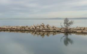 Picture water, lake, stones, pierce