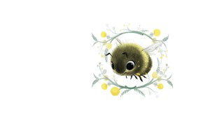 Picture flower, figure, art, bee, children's, Mimosa, Sydney Hanson