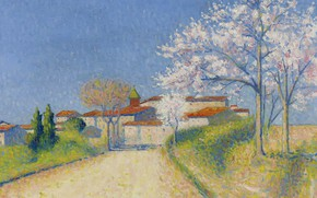 Picture trees, landscape, home, picture, spring, flowering, Achille Lauge, Achilles Box, The road Leading to Cayo