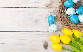 Wallpaper decoration, wood, Easter, Easter, tulips, tulips, tender, yellow, Happy, spring, eggs