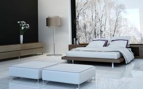Picture flowers, room, furniture, bed, interior, vase, floor lamp, bedroom