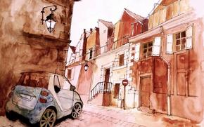 Wallpaper machine, figure, street