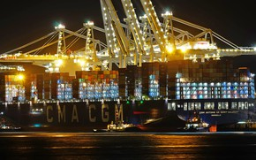 Picture lights, port, The ship, A container ship, cranes