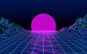 Picture The sun, Mountains, The moon, Neon, Graphics, Electronic, Synthpop, Darkwave, Synth, Retrowave, Synth-pop, Sinti, Synthwave, …