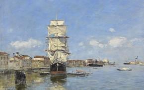Picture ship, picture, sail, Eugene Boudin, Eugene Boudin, Venice. The ship at the Pier. The Giudecca …