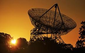 Wallpaper Antenna, Radio telescope, dawn, the sun