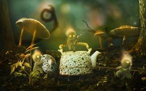 Picture grass, trees, trunks, mushrooms, graphics, men, kettle, bokeh