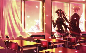 Picture romance, chairs, spring, class, two, school uniform, curtain, art, desks, window, cherry blossoms, the guy …