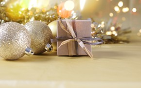 Picture holiday, gift, balls, new year