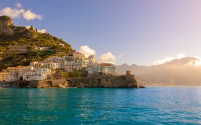 Picture water, shore, building, Italy, Amalfi