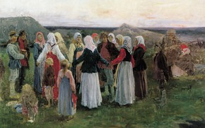 Picture girls, oil, guys, shawls, Alexey STEPANOV, in the village, Dance. Canvas