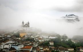 Picture clouds, fog, home, slope, Church, Brazil, Ouro Preto