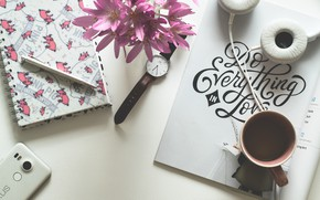 Wallpaper handle, headphones, Cup, coffee, Notepad, the inscription