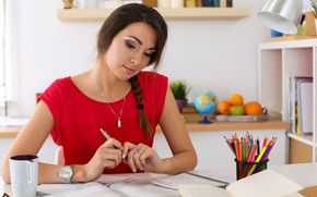 Picture woman, working, study, responsibilities