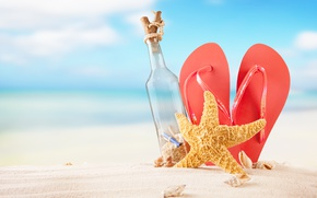 Picture sand, sea, beach, summer, the sun, bottle, shell, summer, beach, vacation, sand, slates, vacation, starfish, …