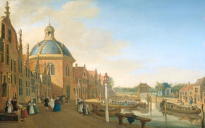 Picture picture, the urban landscape, Paulus Constantin Lafargue, The pond on the Canal in Leidschendam